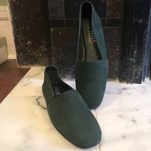 New! Dark Green leather suede slip ons